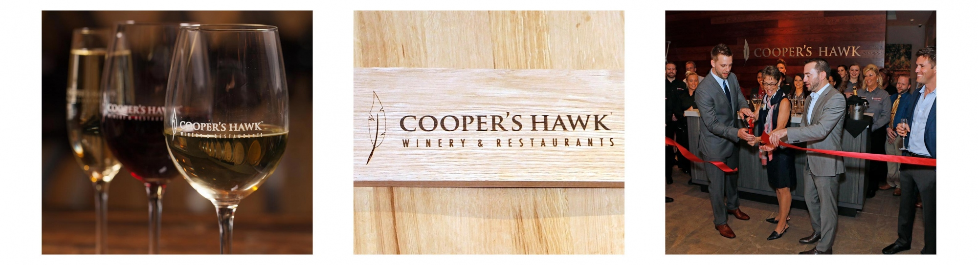 Image of wine, Coopers Hawk logo and ribbon cutting ceremony